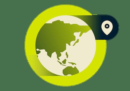Asya haritasında VPN konumları.