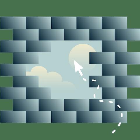 Una abertura en un muro de ladrillo mostrando un cielo con sol y nubes, con un cursor que se dirige hacia la abertura.
