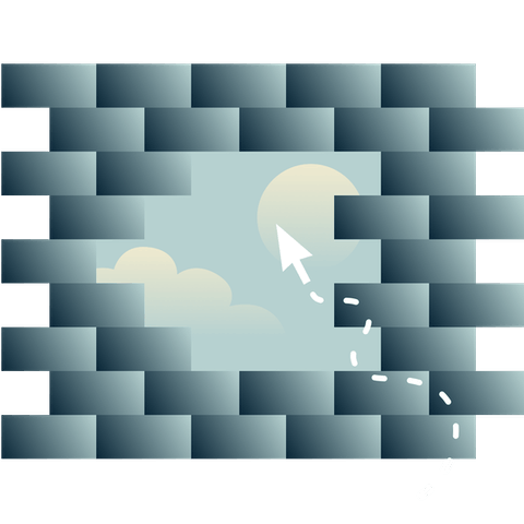 An opening in a brick wall that shows a sky with the sun and clouds, with a cursor going towards the opening.