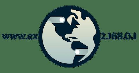 Pyöreä DNS-logo, jossa linkki käännetään IP-osoitteeksi