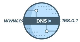 Circular DNS logo showing a URL translated into an IP address