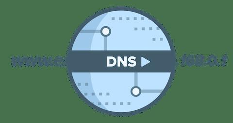 โลโก้วงกลม DNS ที่แสดง URL ที่ได้รับการแปลไปเป็นที่อยู่ IP
