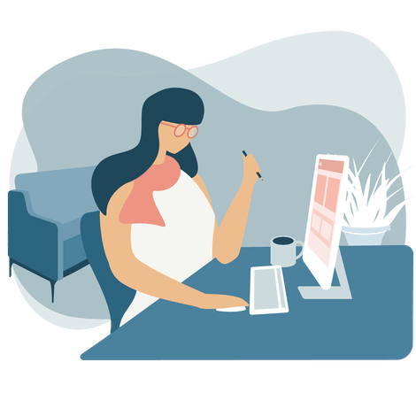 Woman at computer working from home with a VPN.