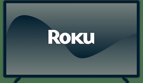 Le logo de Roku sur une TV.