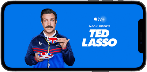 Apple TV+ show Ted Lasso streaming on an iPhone.