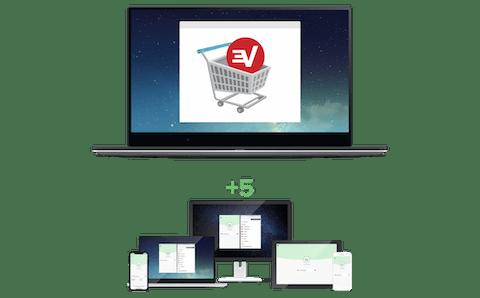 更に5台のデバイスを同時に接続できる追加のExpressVPNサブスクリプションを表示する買い物かご。