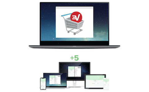 Shopping cart showing an additional ExpressVPN subscription allowing five more devices to connect simultaneously.