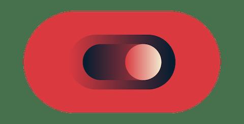 赤いトグルボタン。