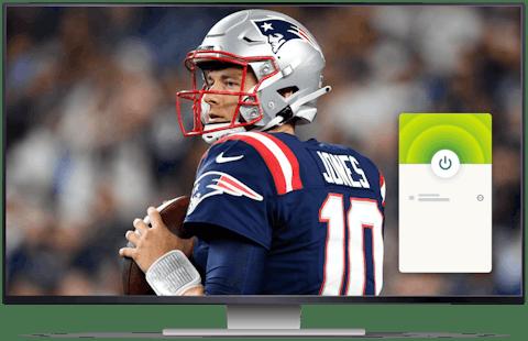 NFL game on a desktop with ExpressVPN connected.