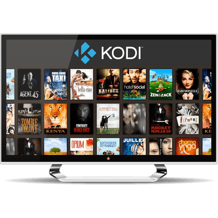 Kodi movie selection screen on a TV monitor.