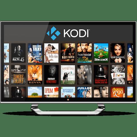 TV 모니터에 출력된 Kodi 영화 선택 화면