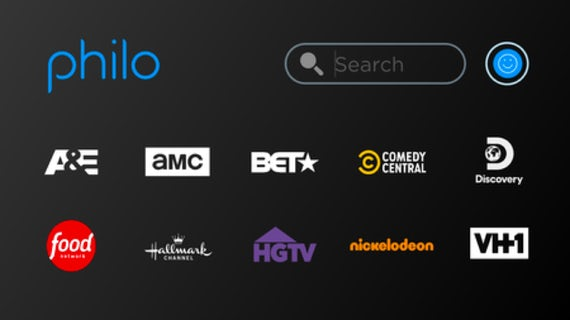 TV screen with Philo channel selection UI.