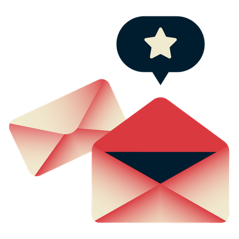 Envelopes with a speech bubble with a star on top.