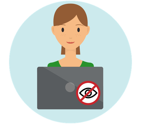 """Woman on laptop adorned with a """"no spies"""" sticker."""