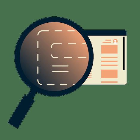 Forstørrelsesglass over en nettleser som viser kryptert informasjon.