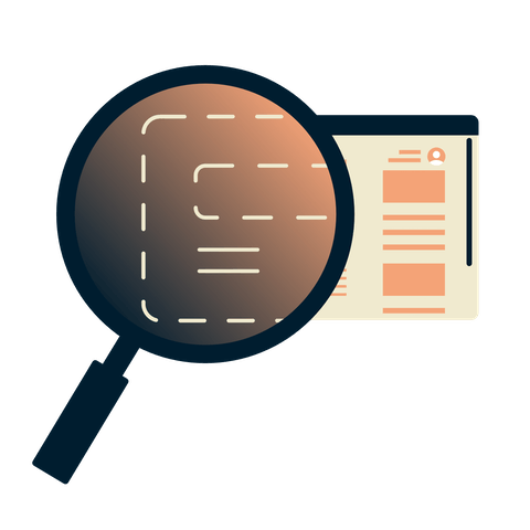 Magnifying glass over a browser showing encrypted information.