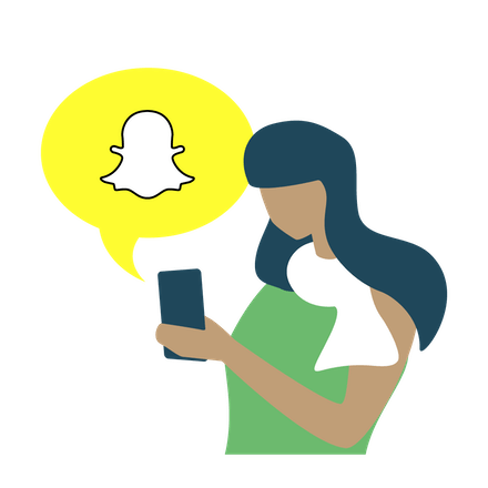 Woman looking at Snapchat on a phone.