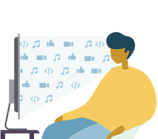 Enjoy the content you want: Man streaming TV and music.