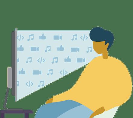 Disfrute del contenido que desea: un hombre viendo TV y escuchando música por streaming.