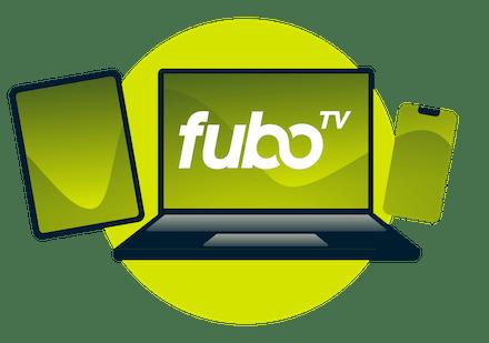 Un ordinateur portable, une tablette et un téléphone, avec le logo fuboTV.