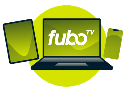 A laptop, tablet, and phone, with the fuboTV logo.