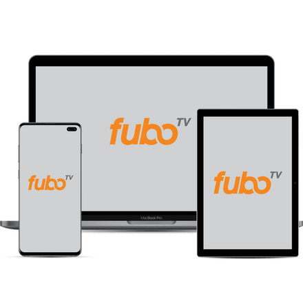 fuboTV sbloccata su un computer, telefono e tablet.