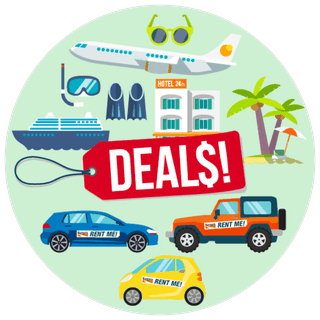 Rental cars, cruise ships, hotels and flights surrounding a price tag labeled Deals.
