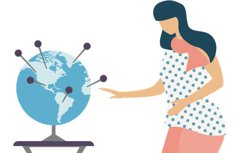 A woman looking at a globe to pick the best VPN server location.