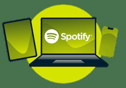 Nutzer von freigeschaltetem Spotify auf einem Laptop.