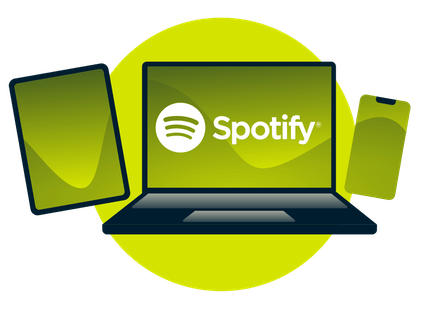 A laptop, tablet, and phone, with the Spotify logo.