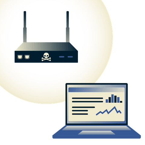 A red router with skull and crossbones stealing data from a laptop over Wi-Fi.