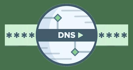 Логотип DNS, указывающий на шифрование запросов
