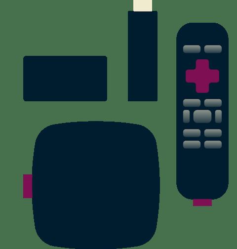 Diversos modelos y controles remotos de Roku.