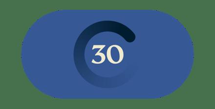 Sprechblasen, die die 30-Tage Geld-zurück-Garantie repräsentieren.