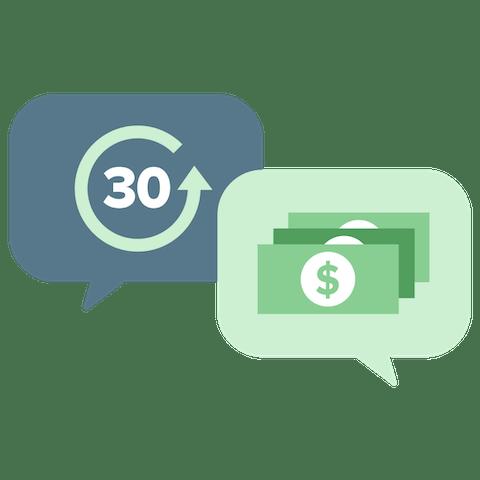 Dymki czatu reprezentujące 30-dniową gwarancję zwrotu pieniędzy.