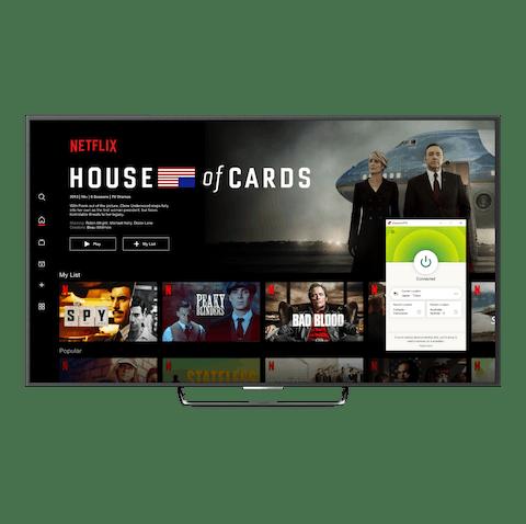 Netflix-bukergrensesnitt med VPN.