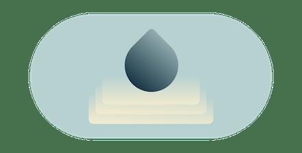 Gotas de água criando ondulações