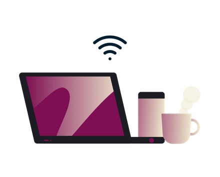 Stay safe on public Wi-Fi: Man using a tablet in a coffee shop.