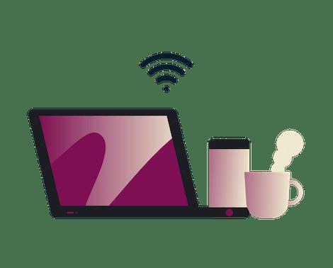 Blijf veilig op openbare wifi: man gebruikt een tablet in een café.