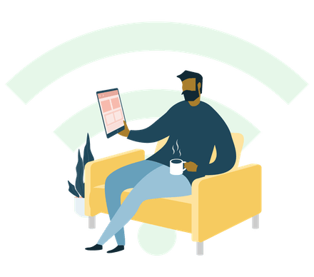 Permanezca seguro en redes Wi-Fi públicas: un hombre utilizando una tablet en una cafetería.