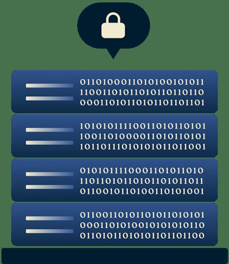 Tecnologia TrustedServer di ExpressVPN caricata su dei server.