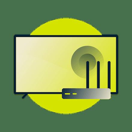 An einen VPN-Router angeschlossenes Smart TV.