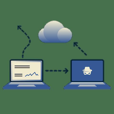 Een laptop die met de cloud verbindt met een doodskop laptop die dit onderschept.