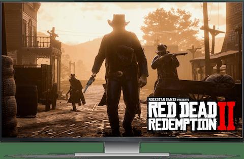 Spelar Red Dead Redemption 2 på en TV.