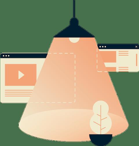 Una lámpara colgando sobre 2 ventanas de un navegador de internet, pero nada está expuesto
