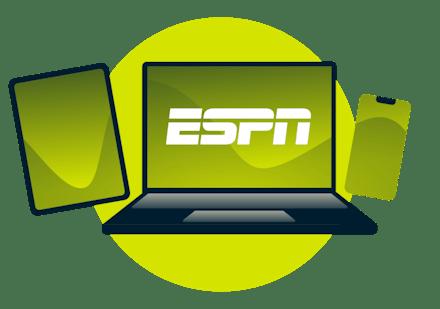Un ordinateur portable, une tablette et un téléphone avec le logo ESPN.