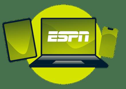 Laptop, tablet i telefon z logo ESPN.