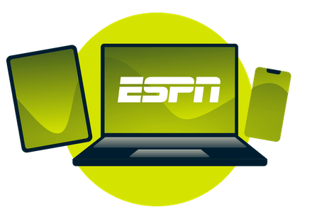 A laptop, tablet, and phone, with the ESPN logo.