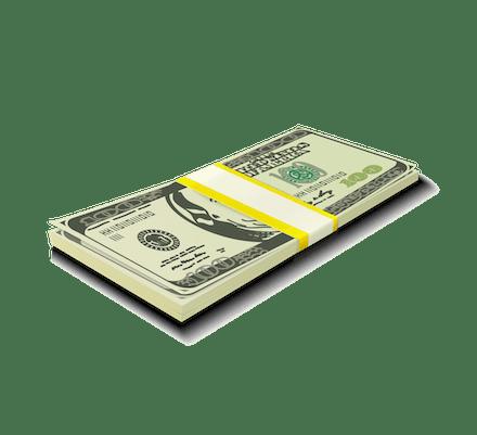 Brick of American hundred-dollar bills.