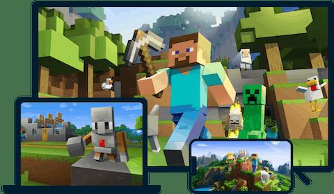 Minecraft em uma variedade de dispositivos.